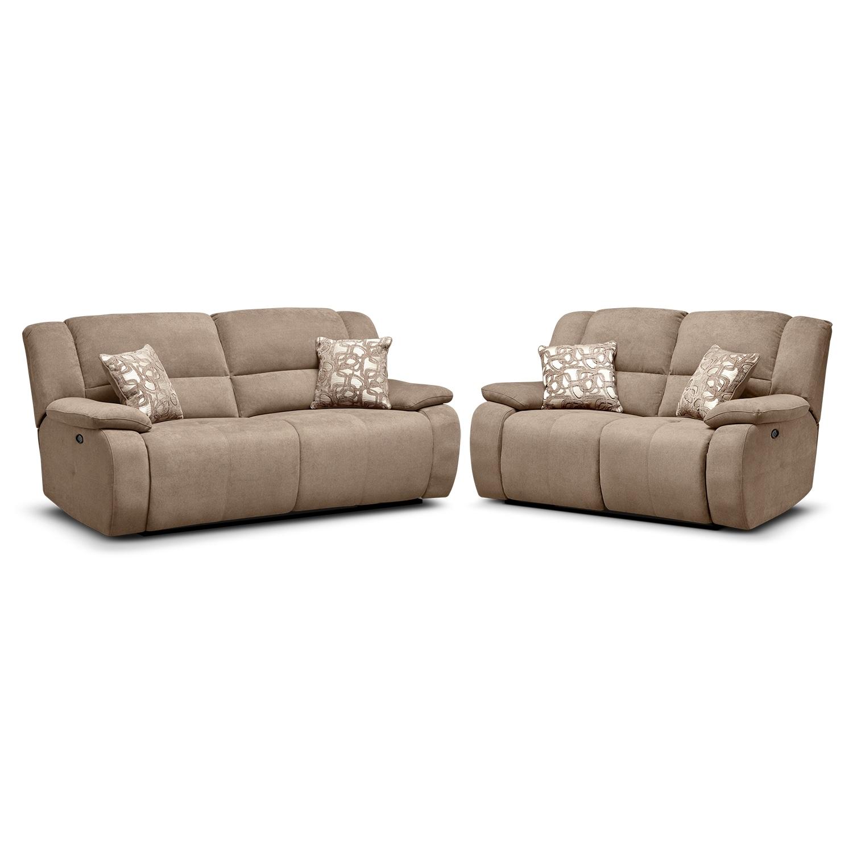 Living Room Furniture - Destin Beige 2 Pc. Power Reclining Living Room