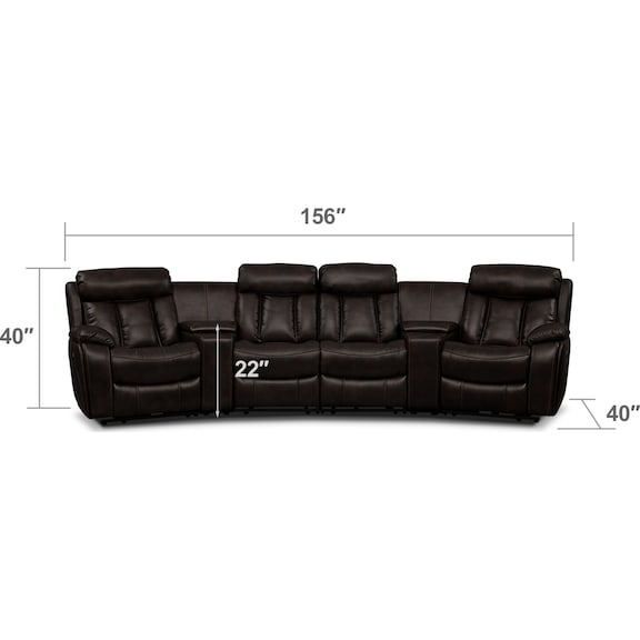 Living Room Furniture - Diablo 6-Piece Power Reclining Sectional with 2 Armless Power Chairs - Walnut
