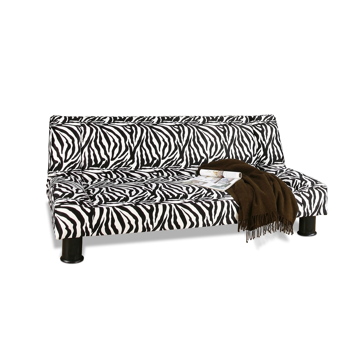 Accent and Occasional Furniture - Maple Futon Sofa Bed - Black and White