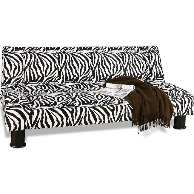 Living Room Furniture - Maple Futon Sofa Bed - Black and White