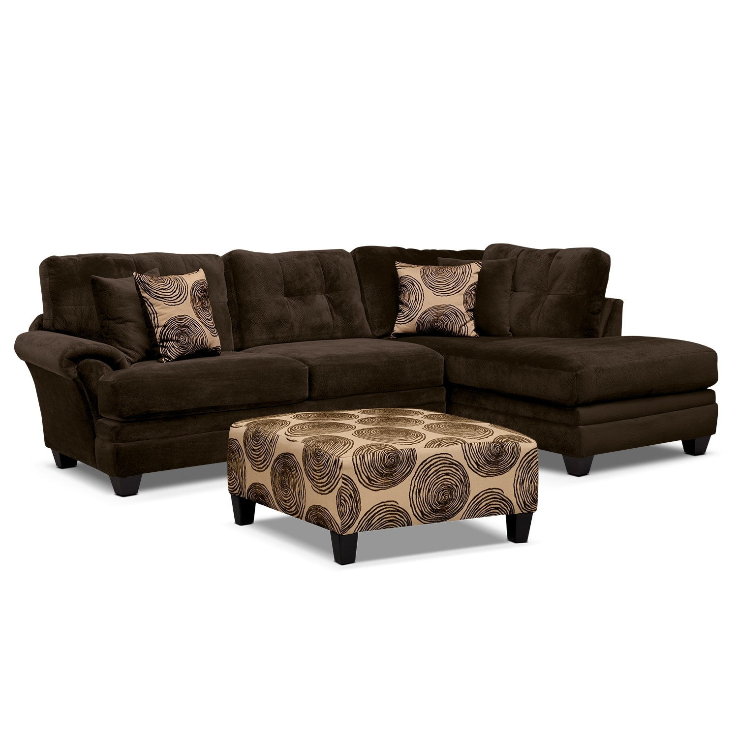 [Cordoba 2-Piece Right-Facing Sectional Plus Free Cocktail Ottoman - Chocolate]