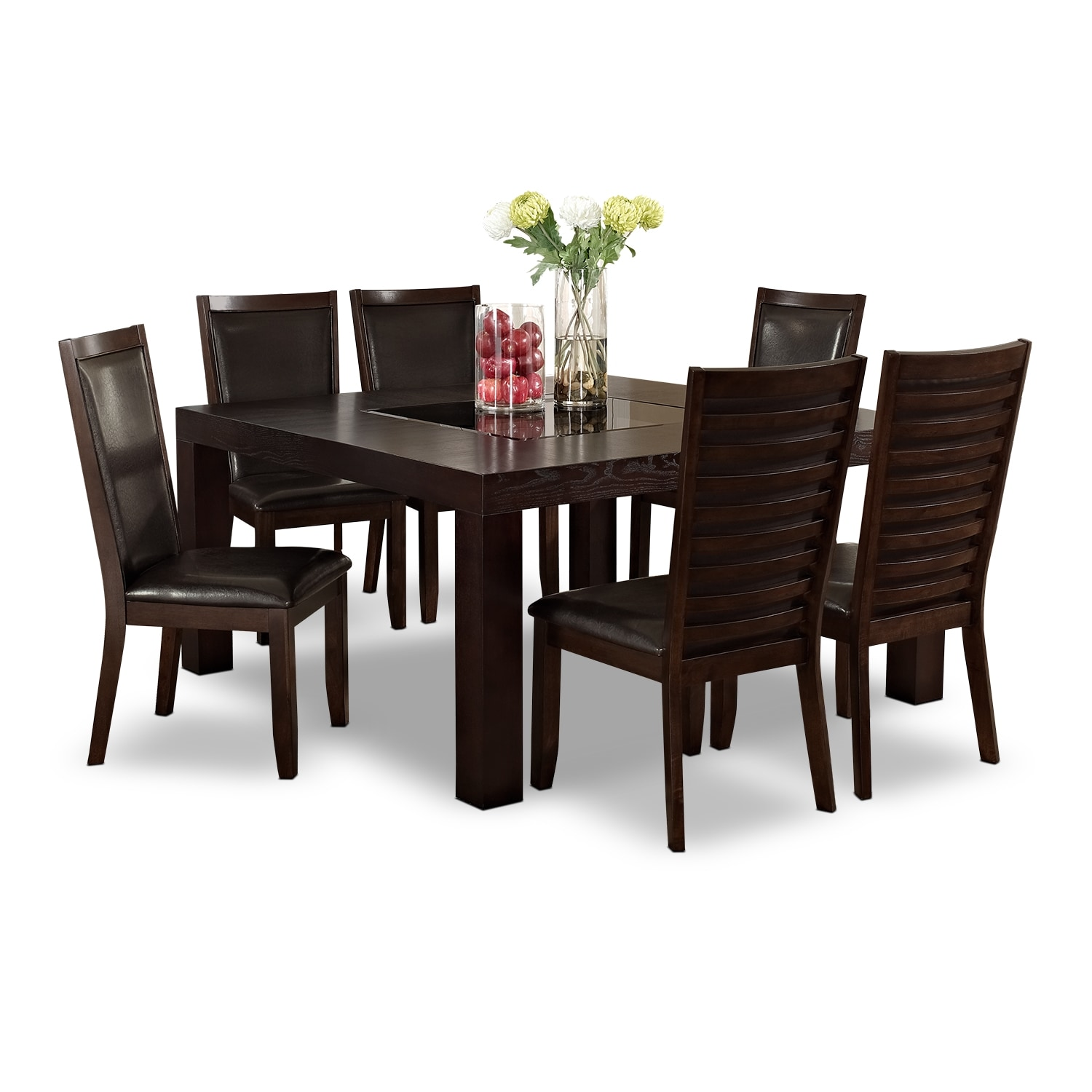 "[Tango Paragon II 7 Pc. Dinette with 60x60"" Table - Merlot and Brown]"