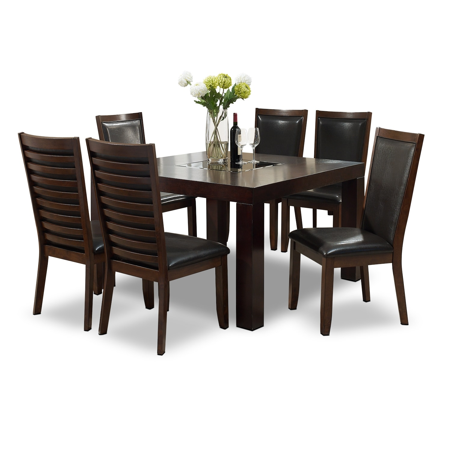 "[Tango Paragon II 7 Pc. Dinette with 50x50"" Table - Merlot and Brown]"