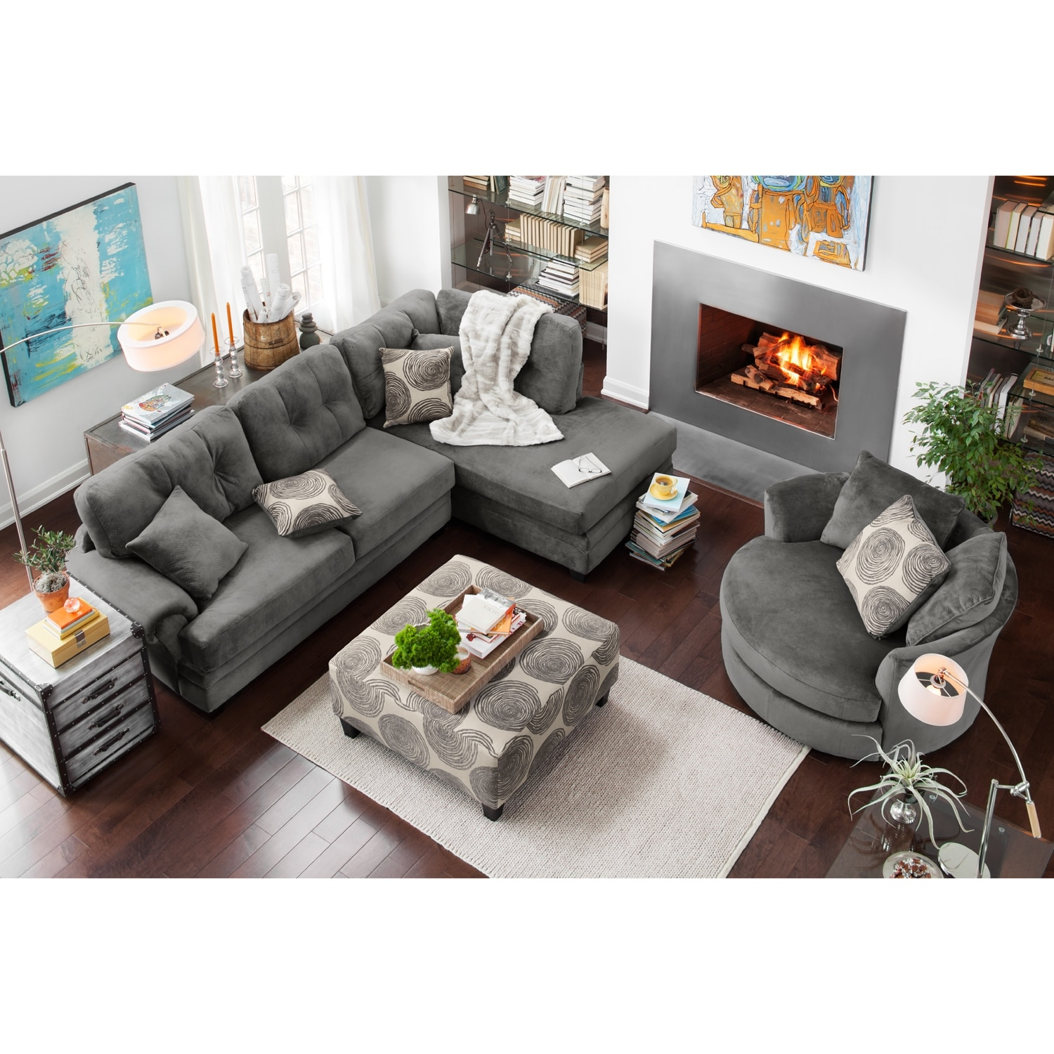 piece right facing chaise sectional gray value city furniture