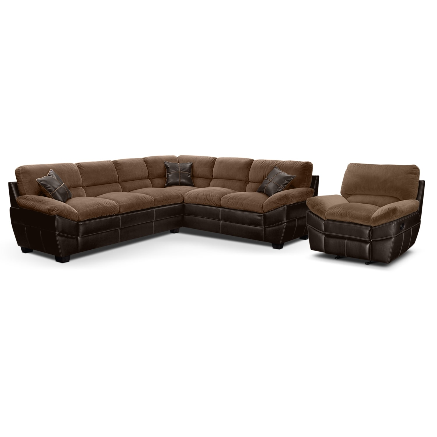 Chandler Beige II 2 Pc. Sectional and Glider Recliner