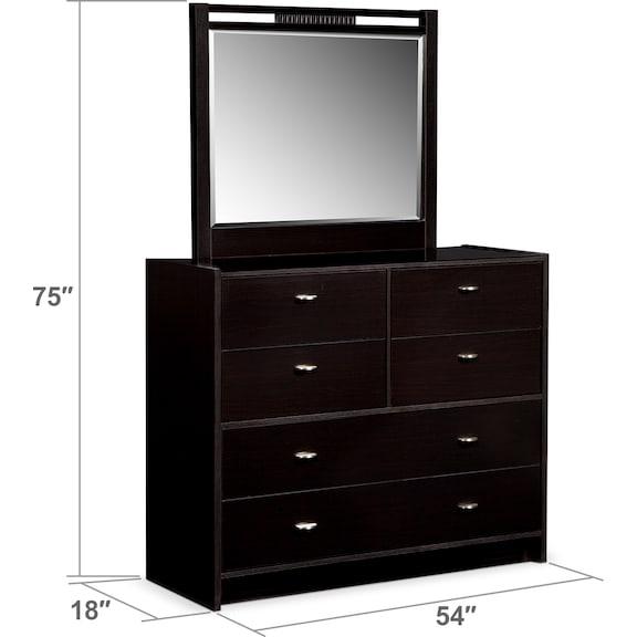 Bedroom Furniture - Bally Dresser and Mirror - Black