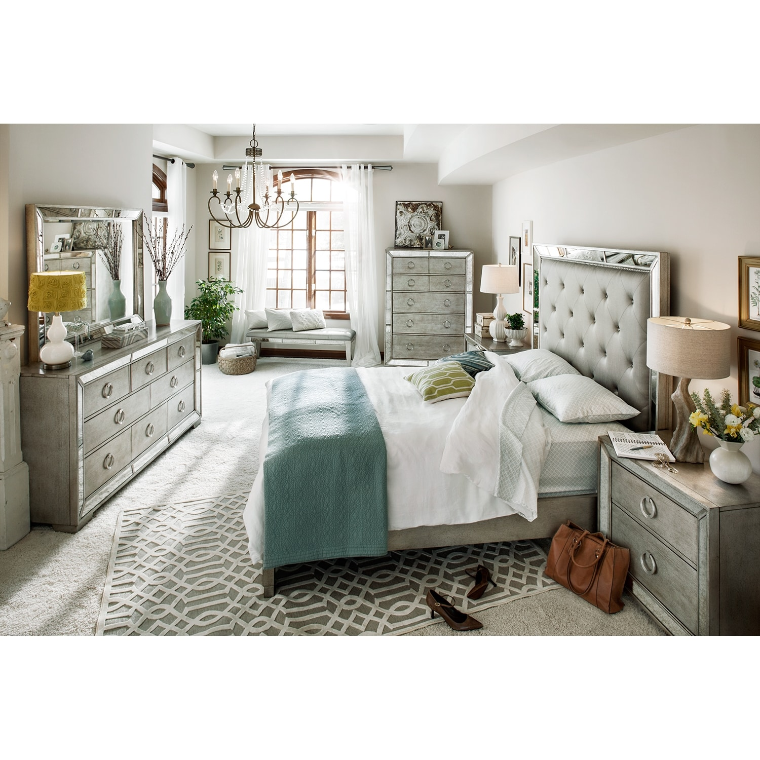 Bedroom Furniture - Angelina 6-Piece Queen Bedroom Set - Metallic