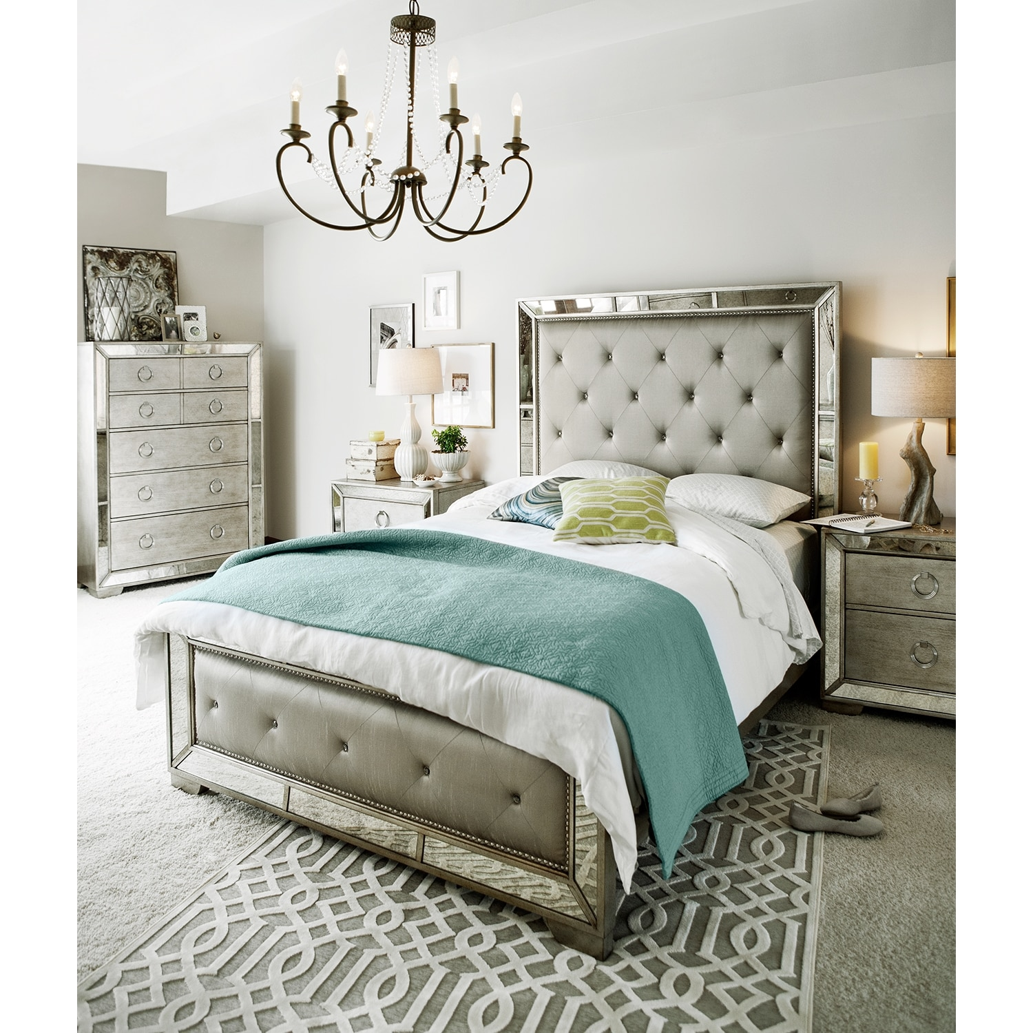 Angelina 6 Piece Queen Bedroom Set Metallic Value City