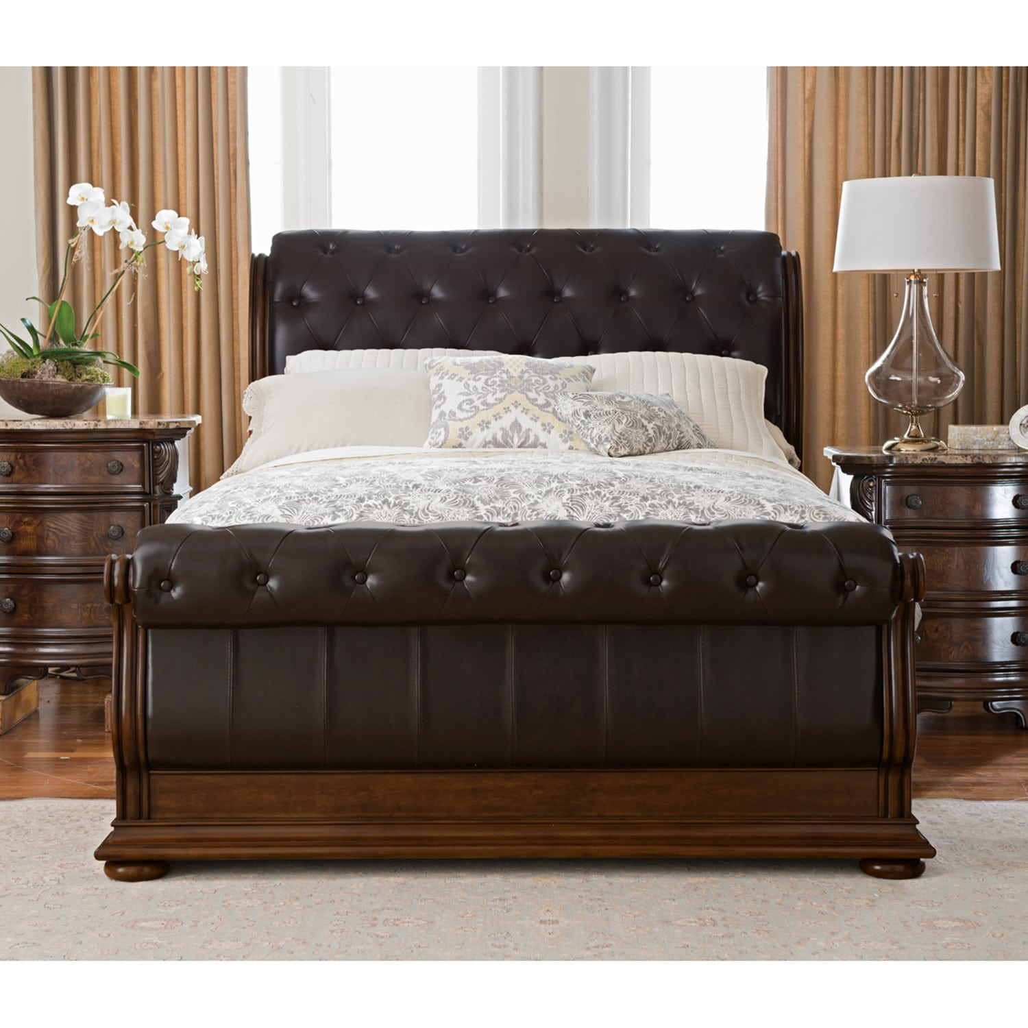Sleigh Bedroom Sets King monticello 5-piece king sleigh bedroom set - pecan | value city
