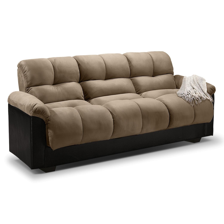 living room furniture   ara futon sofa bed with storage   hazelnut ara futon sofa bed with storage   hazelnut   value city furniture      rh   valuecityfurniture