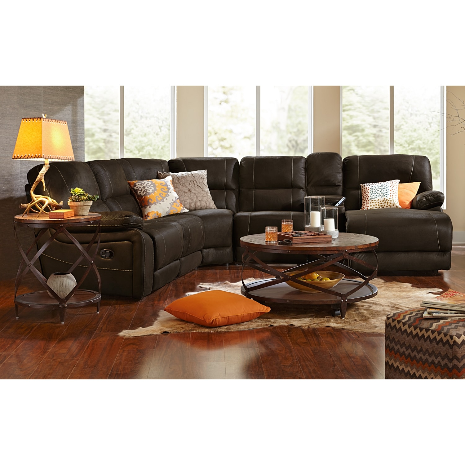 Wyoming 5 Piece Reclining Sectional With Right Facing