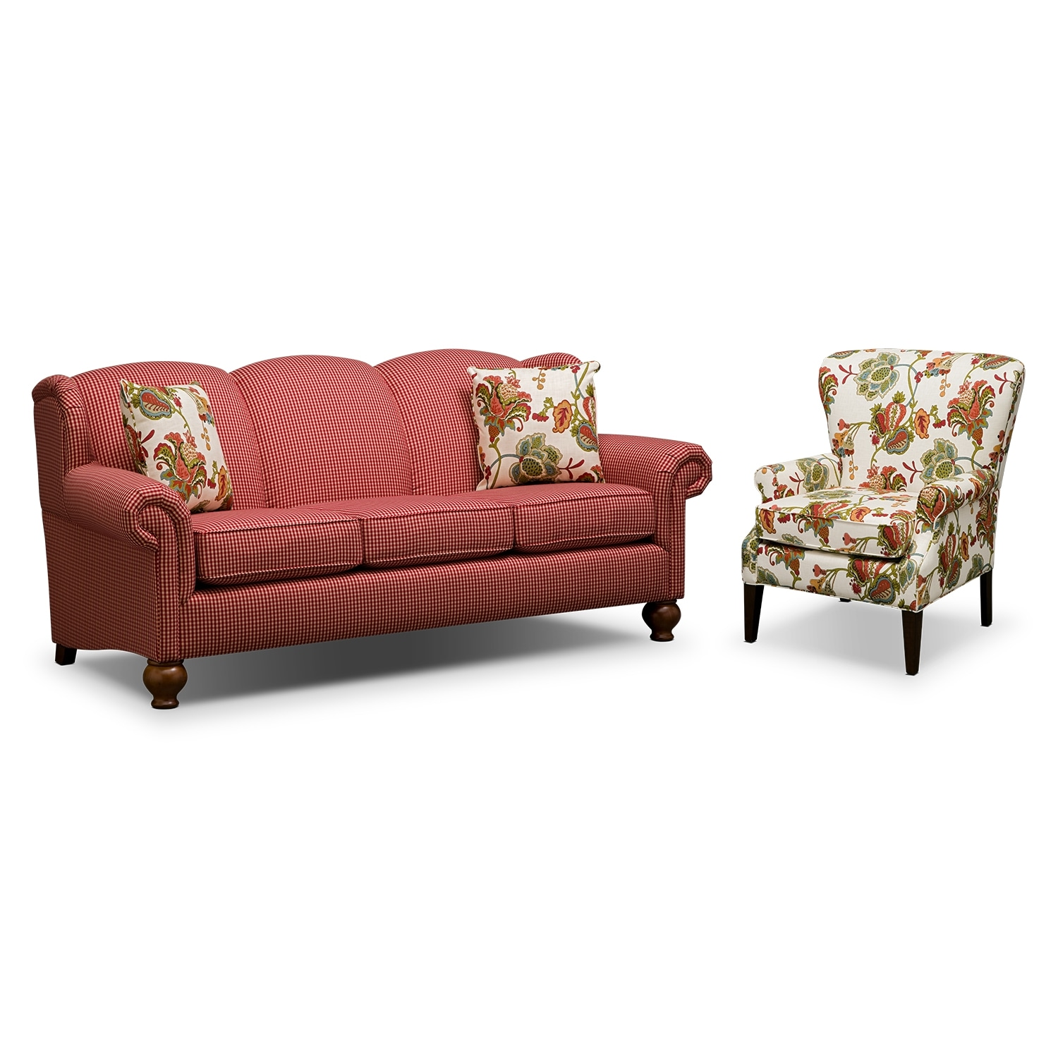 Living Room Furniture - Charlotte 2 Pc. Living Room w/ Accent Chair