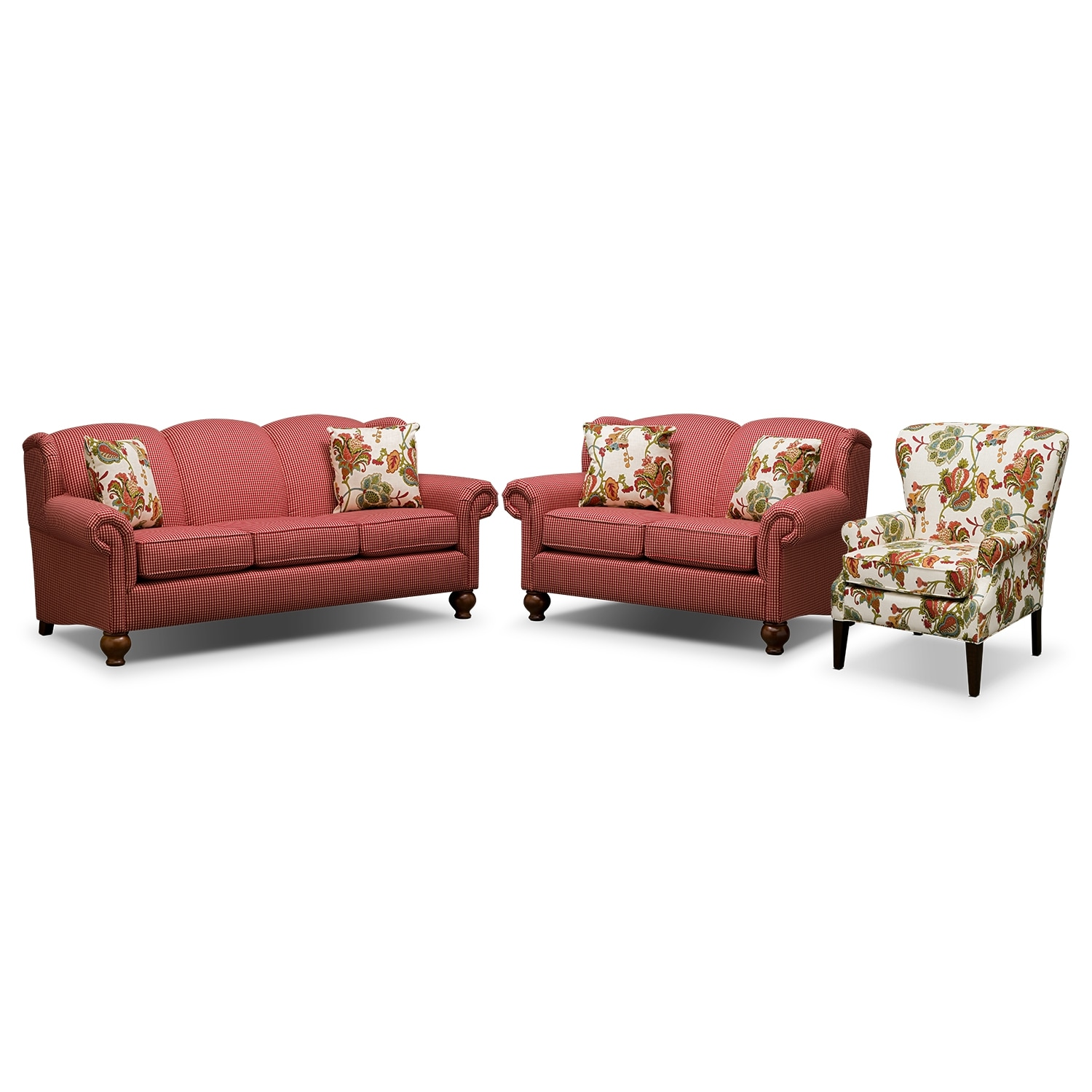 Living Room Furniture - Charlotte 3 Pc. Living Room w/ Accent Chair
