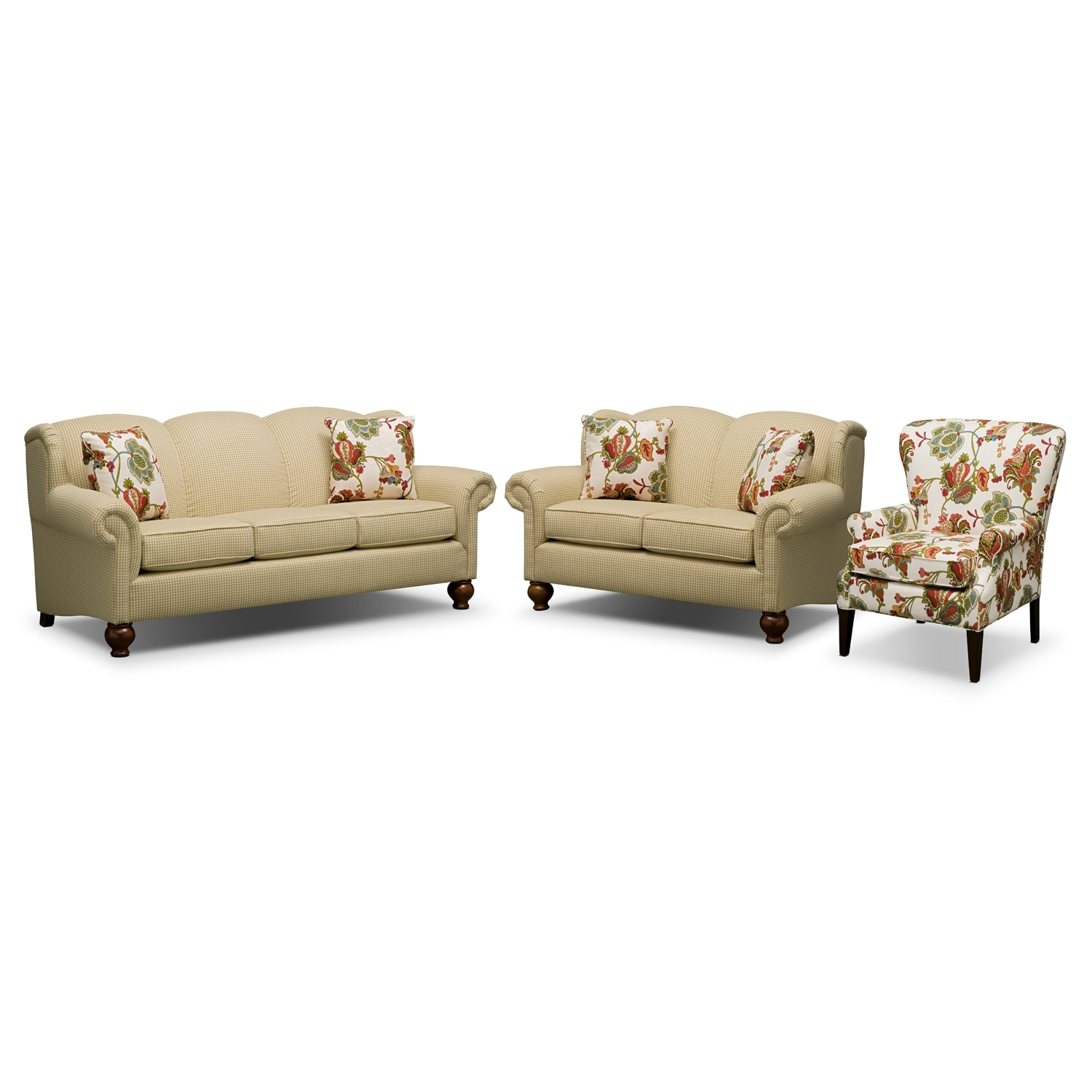 Living Room Furniture - Charlotte II 3 Pc. Living Room w/ Accent Chair