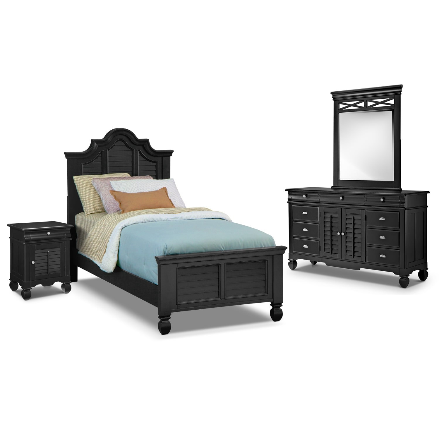 Plantation Cove 6-Piece Twin Bedroom Set with Door Nightstand - Black