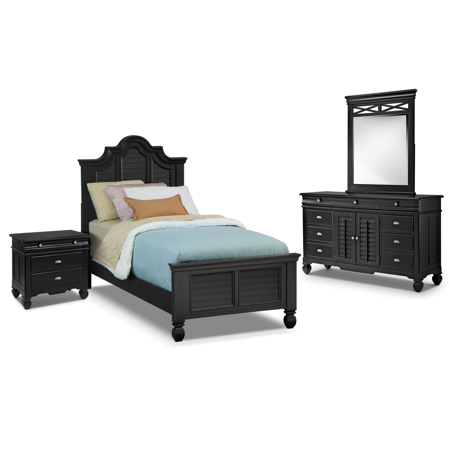 Kids Furniture - Plantation Cove 6-Piece Twin Bedroom Set - Black