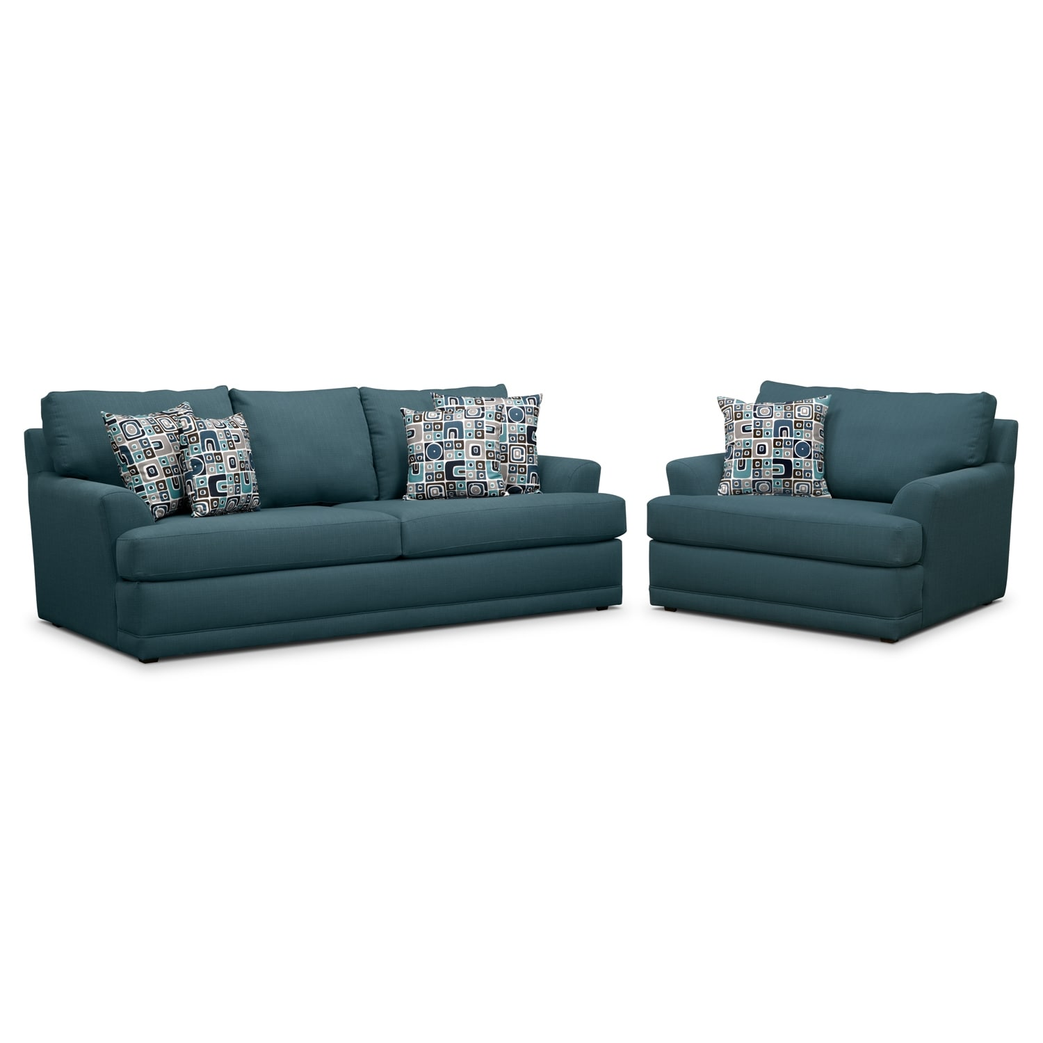 Living Room Furniture - Kismet 2 Pc. Sleeper Living Room with Chair and a Half and Memory Foam Mattress - Teal