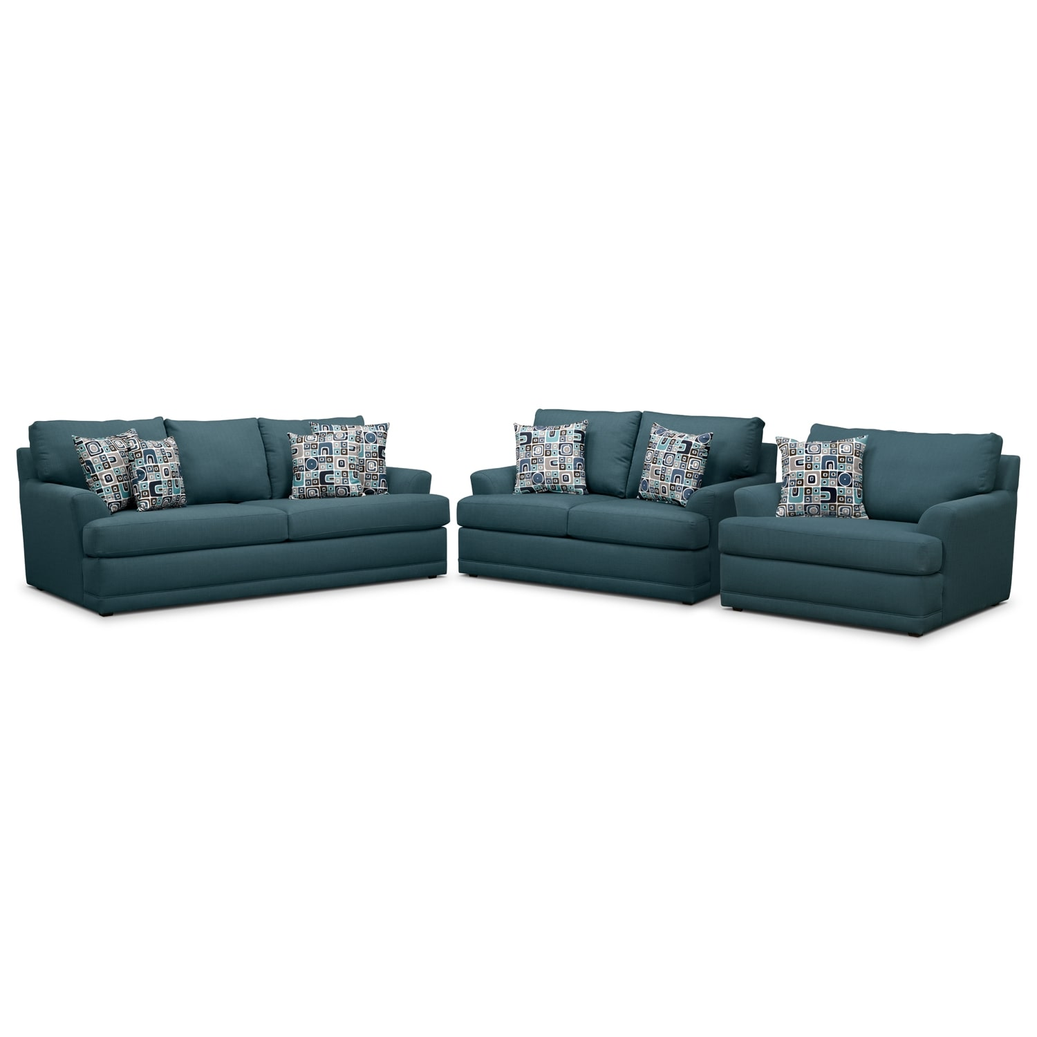 Living Room Furniture - Kismet 3 Pc. Sleeper Living Room with Chair and a Half and Innerspring Mattress - Teal