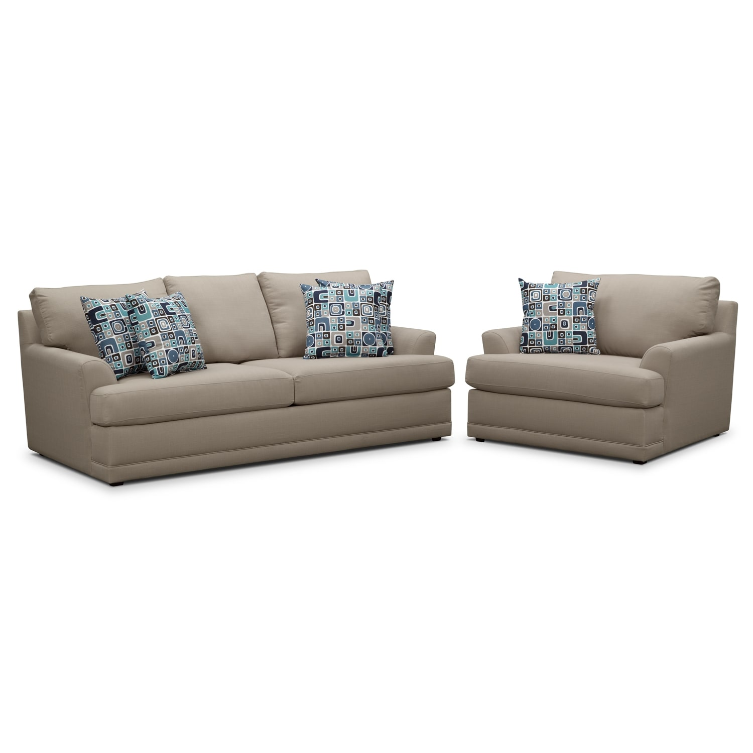 Living Room Furniture - Kismet 2 Pc. Sleeper Living Room with Chair and a Half and Memory Foam Mattress - Gray