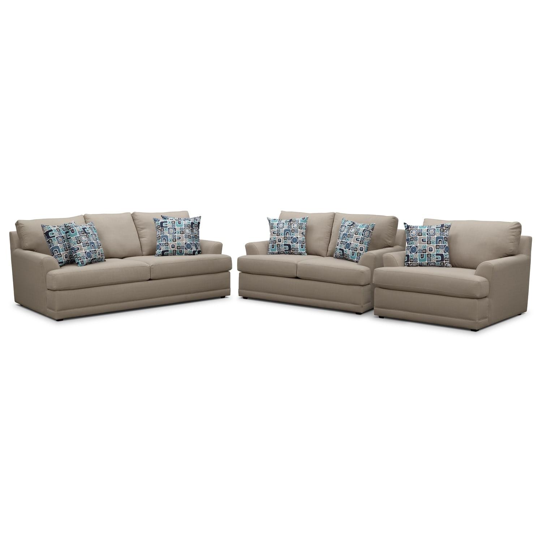 [Kismet II 3 Pc. Living Room w/ Chair and a Half]