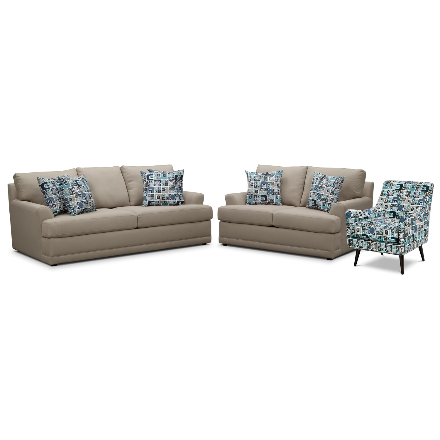 Living Room Furniture - Kismet 3 Pc. Sleeper Living Room with Accent Chair and Innerspring Mattress - Gray
