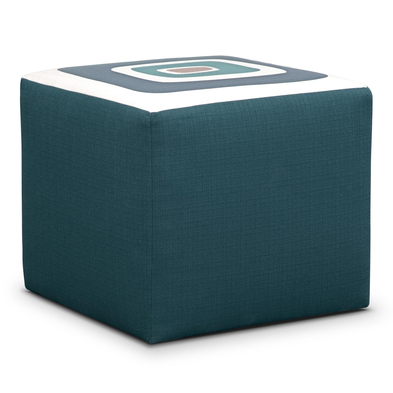 Living Room Furniture - Kismet Cube Ottoman - Teal