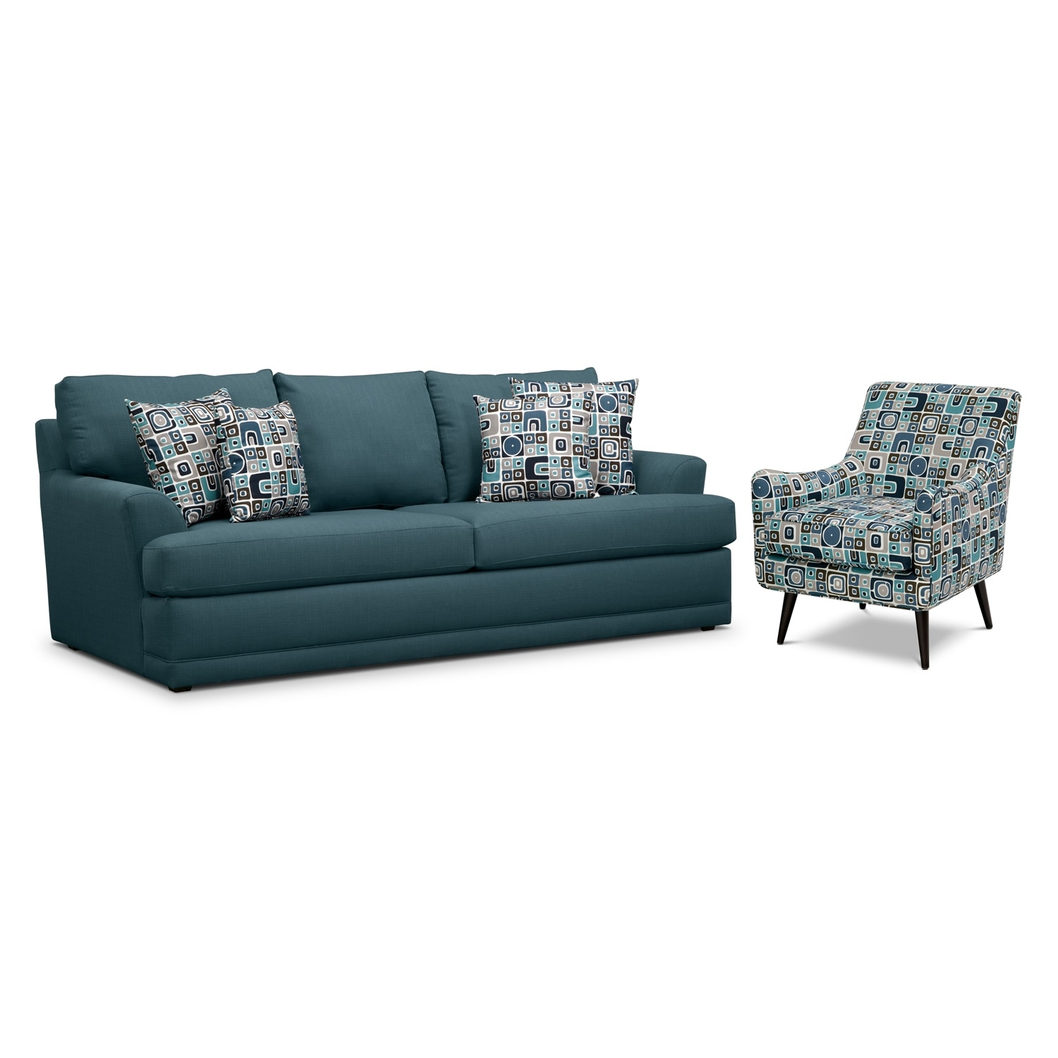 Living Room Furniture - Kismet 2 Pc. Sleeper Living Room with Accent Chair and Memory Foam Mattress - Teal