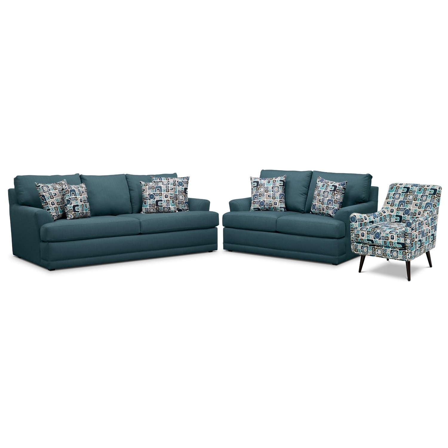 Living Room Furniture - Kismet 3 Pc. Sleeper Living Room with Accent Chair and Innerspring Mattress - Teal