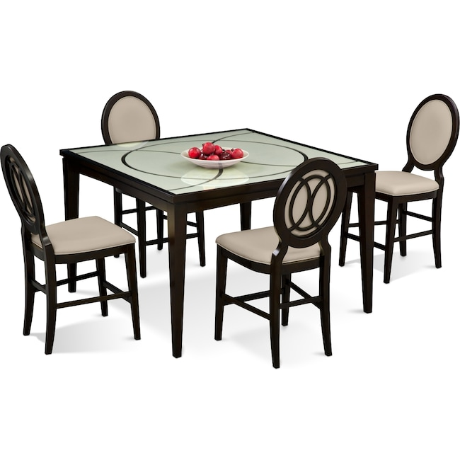 Dining Room Furniture - Cosmo Counter-Height Dining Table and 4 Dining Chairs