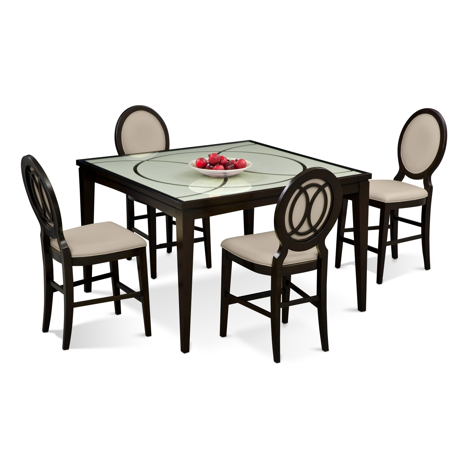 Cosmo Counter Height Table And 4 Chairs   Merlot