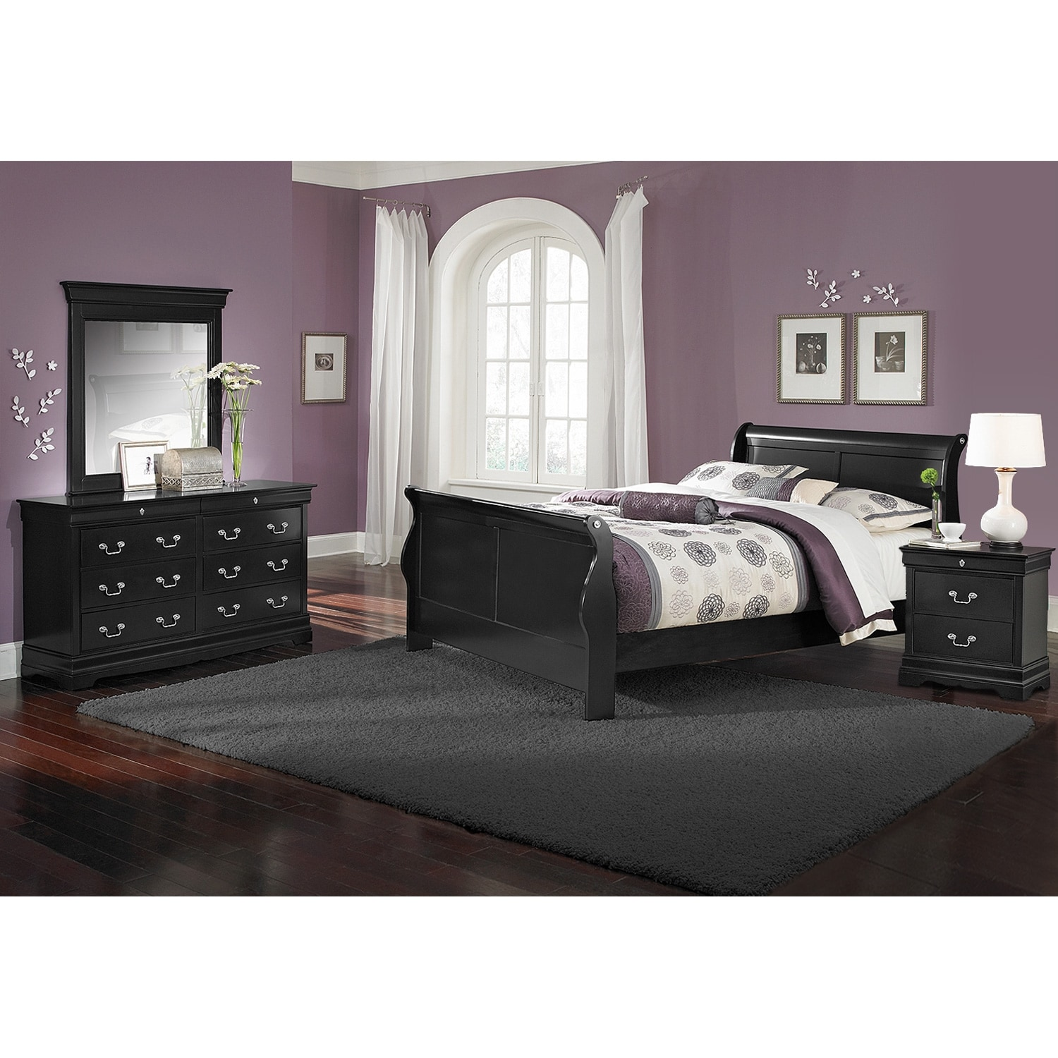 Kids Furniture - Neo Classic Youth 6-Piece Twin Bedroom Set- Black