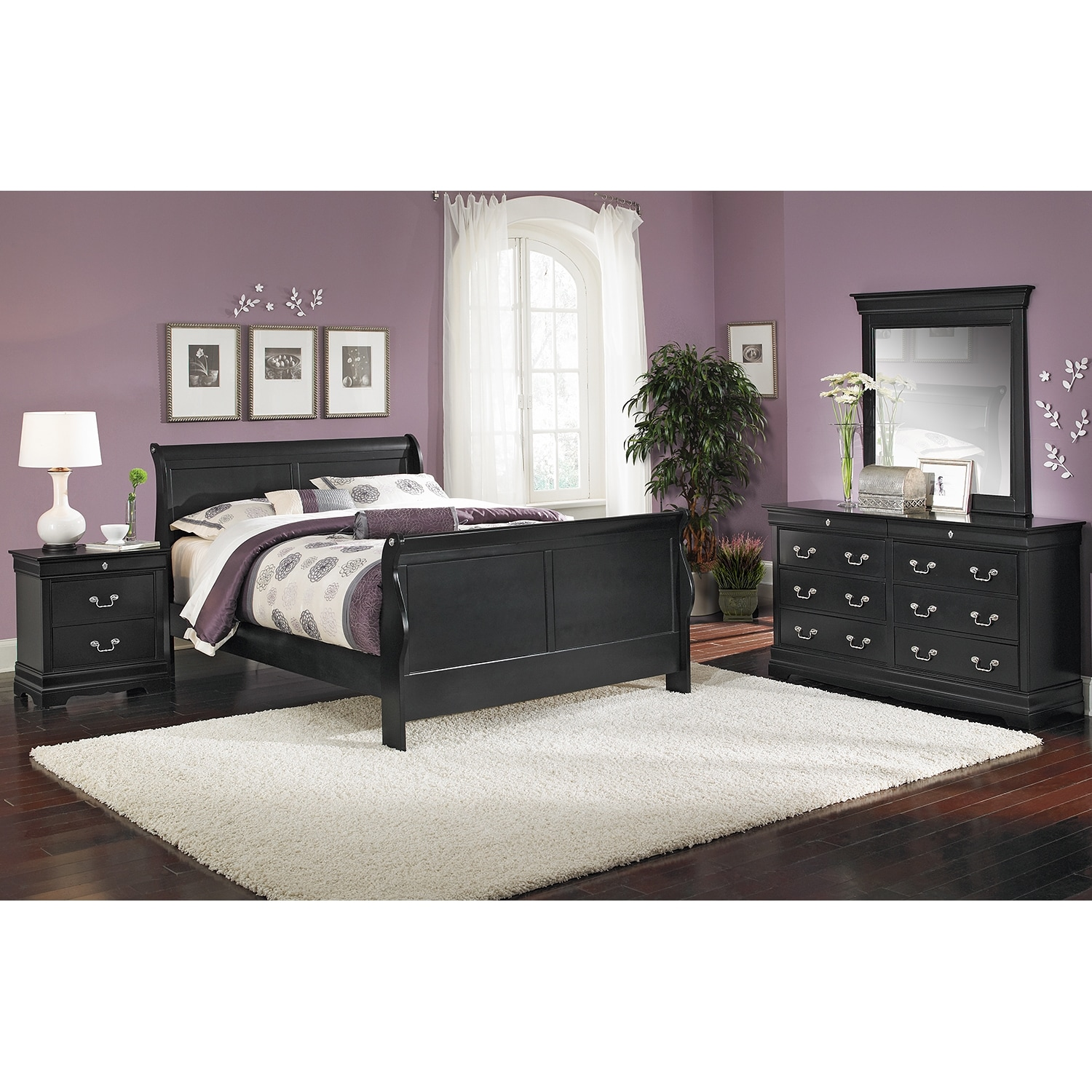 Bedroom Furniture - Neo Classic Black 6 Pc. Queen Bedroom