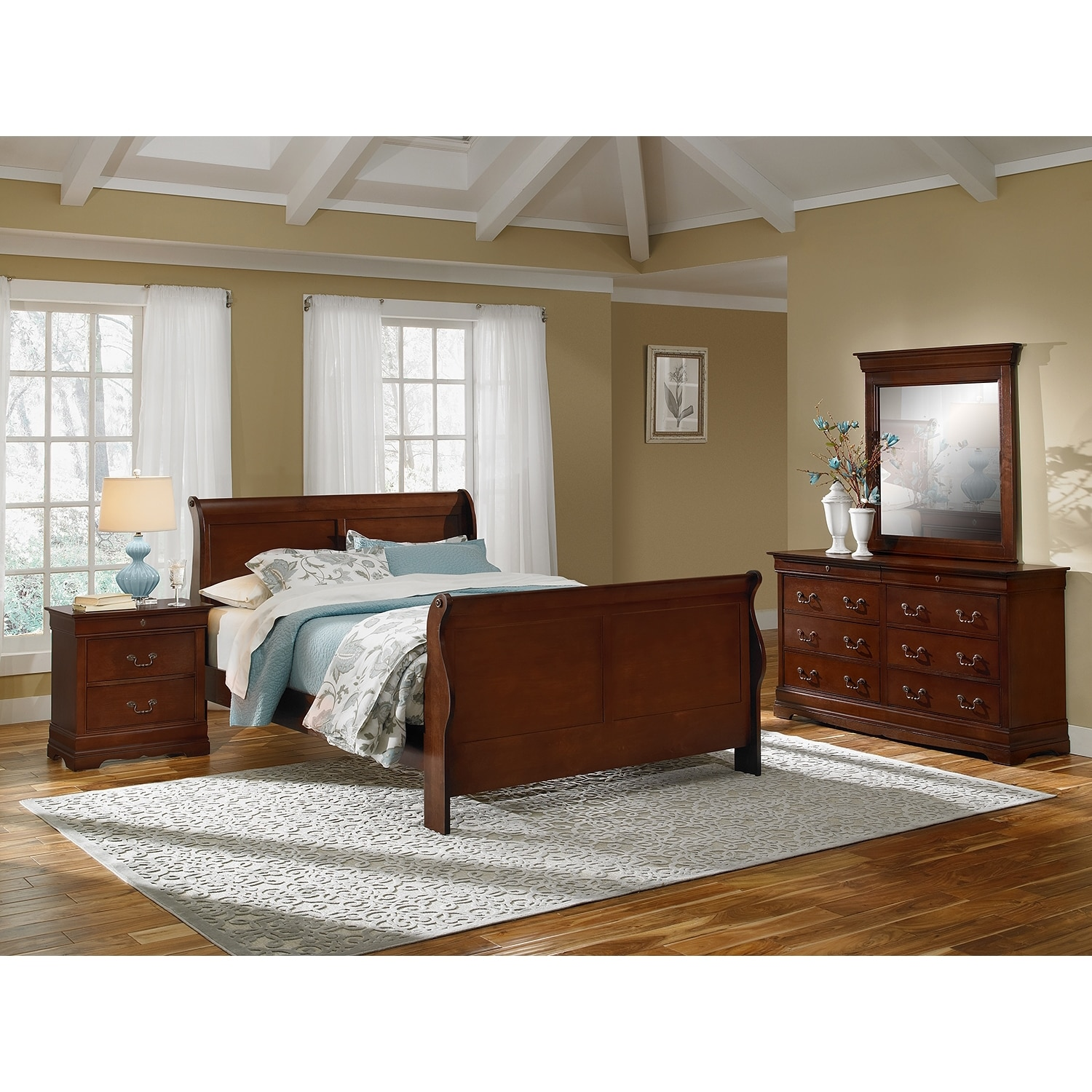 Bedroom Furniture - Neo Classic 6-Piece King Bedroom Set - Cherry