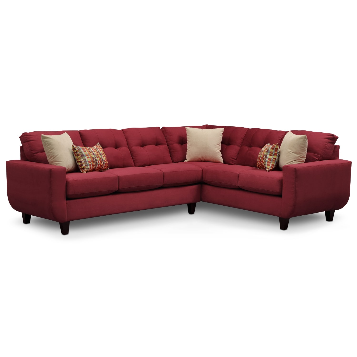 Living Room Furniture - West Village 2-Piece Sectional - Red