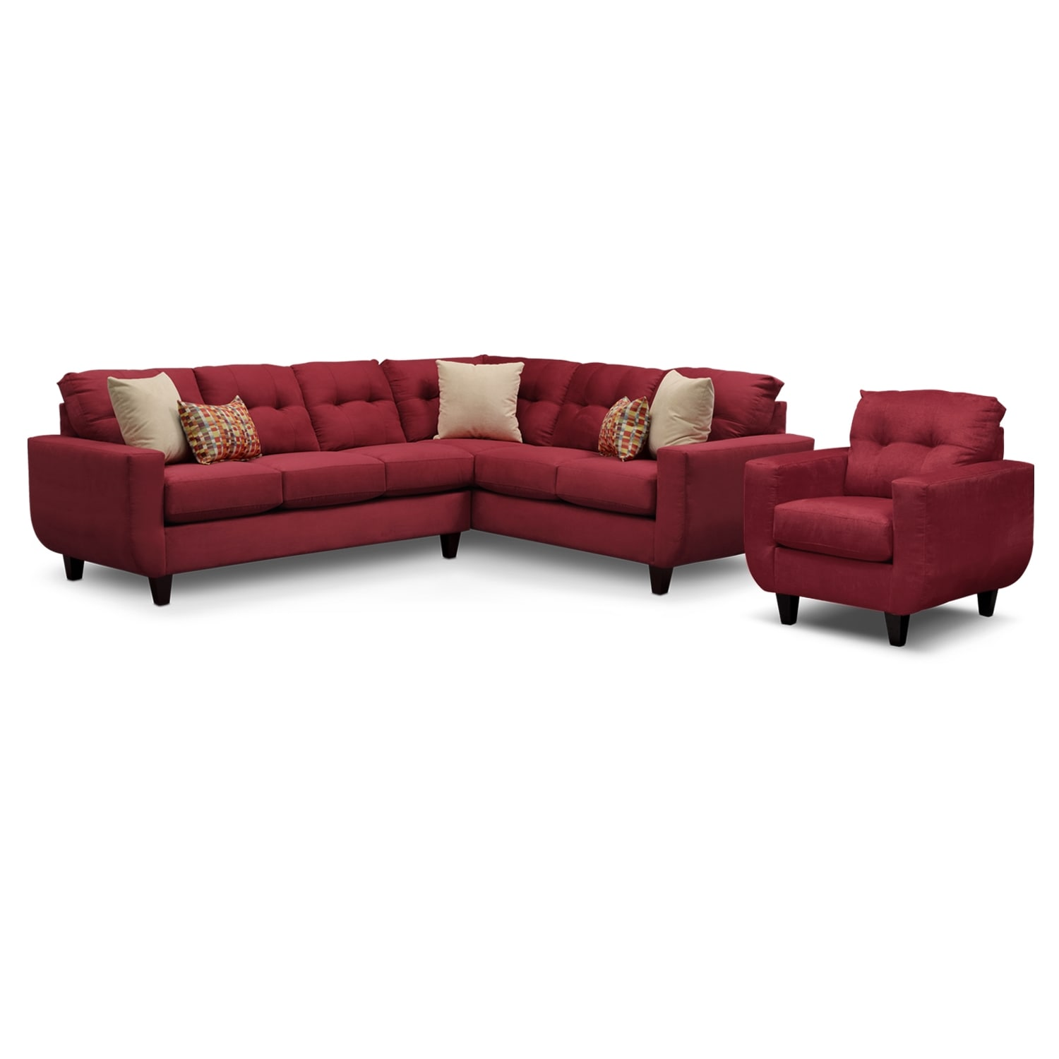 Living Room Furniture - West Village 2-Piece Sectional and Chair - Red