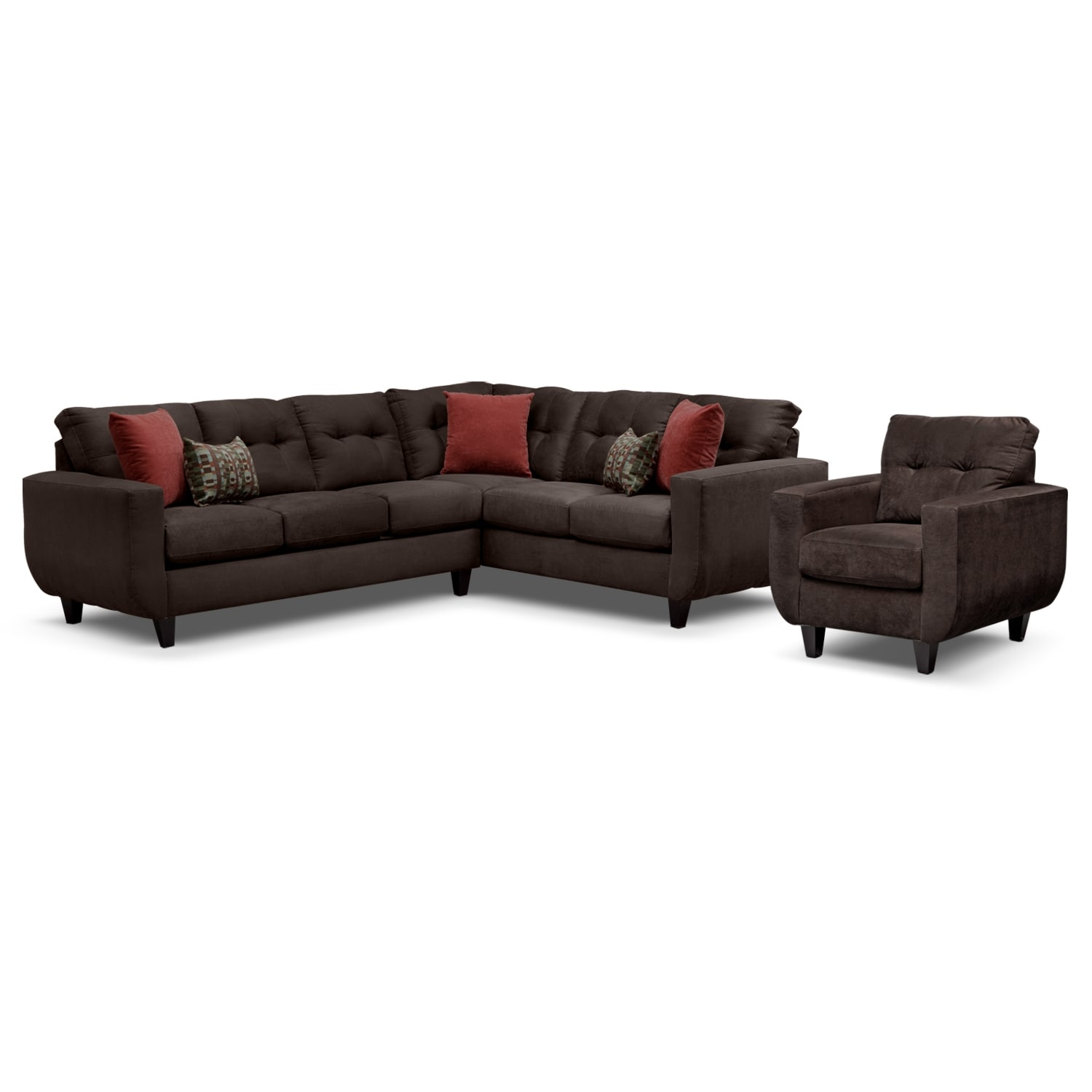 Living Room Furniture - West Village 2-Piece Sectional and Chair Set - Chocolate
