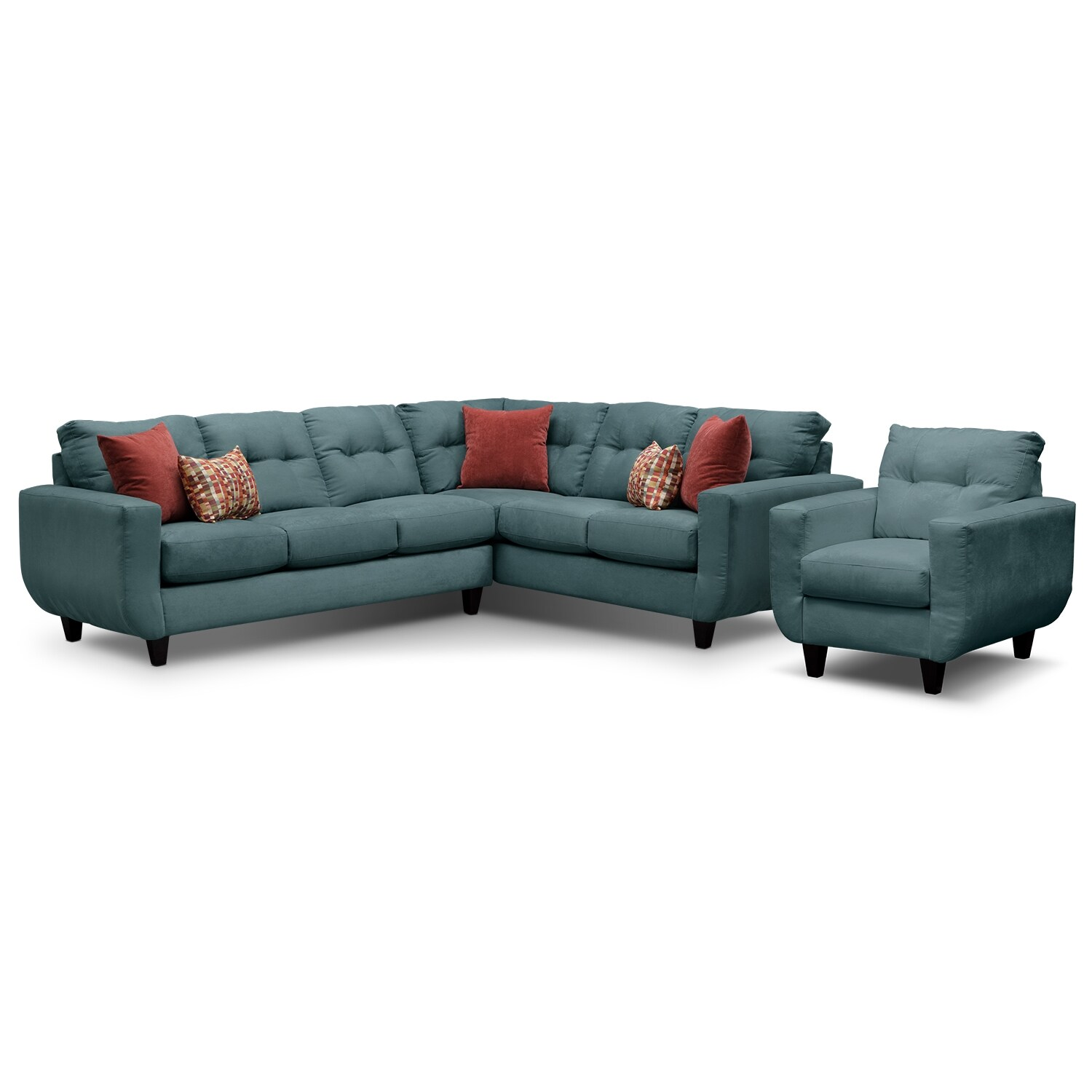 Living Room Furniture - West Village Blue II 2 Pc. Sectional and Chair