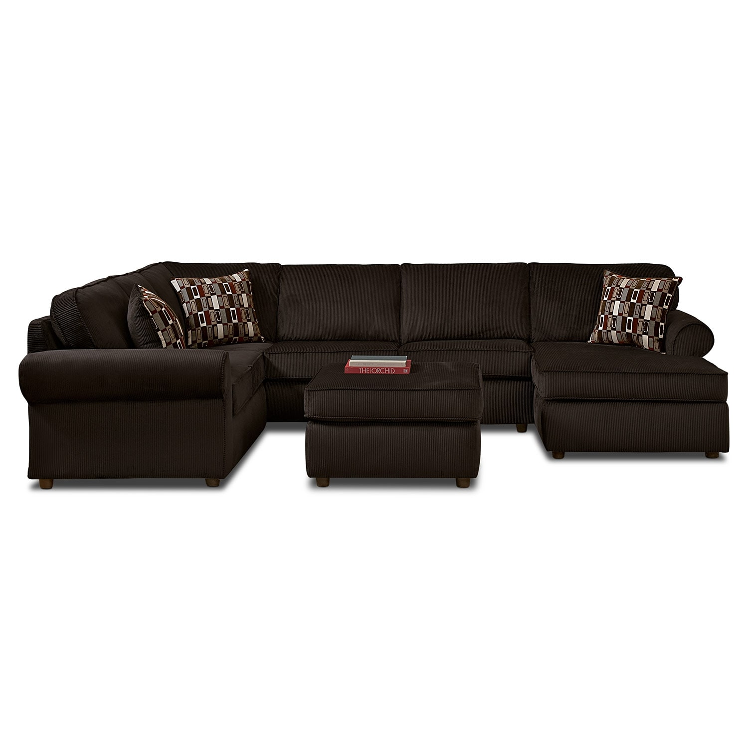 Monarch 3 Pc. Sectional and Cocktail Ottoman