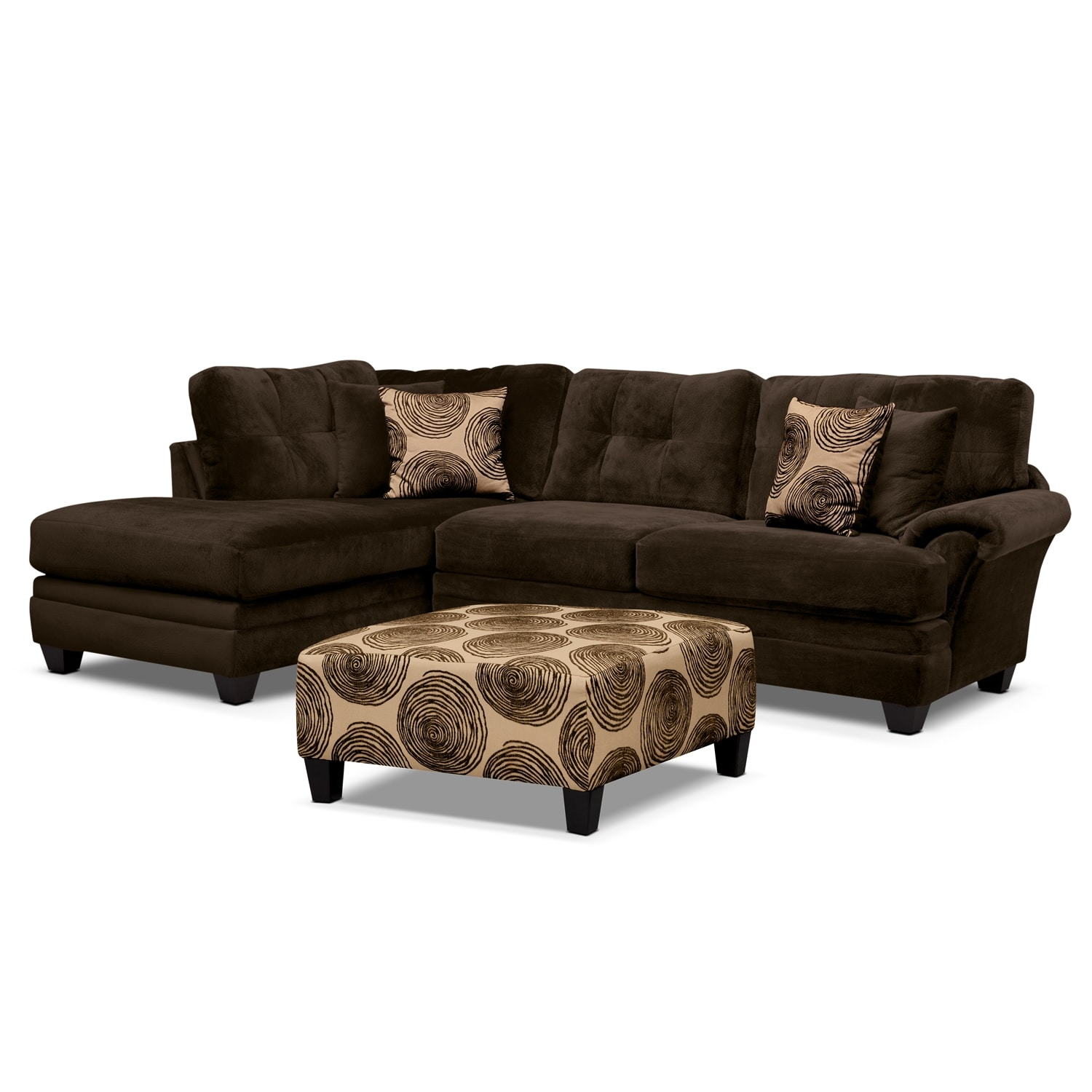 [Cordoba 2-Piece Left-Facing Sectional Plus Free Cocktail Ottoman - Chocolate]