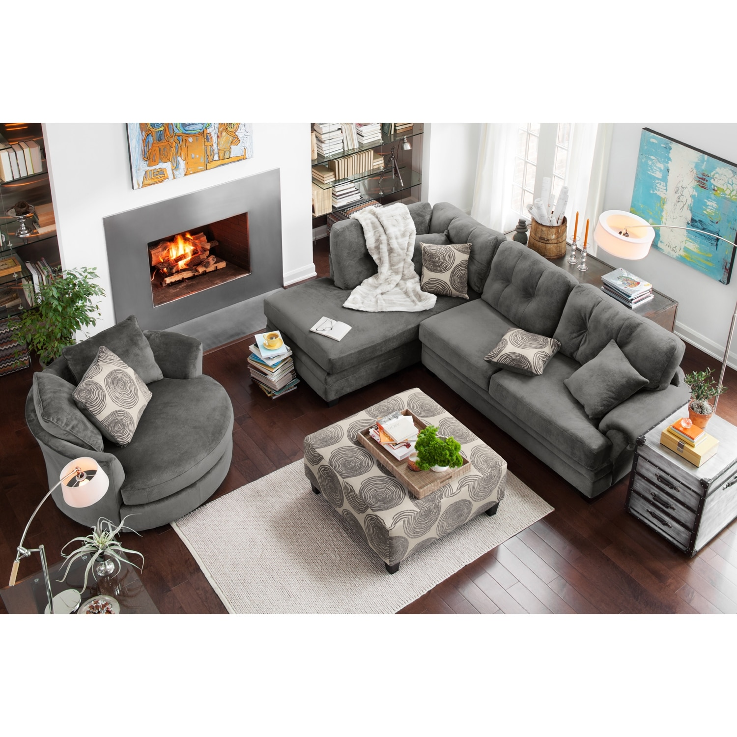 Cordelle 2 Piece Left Facing Chaise Sectional Gray Value City Furniture And Mattresses
