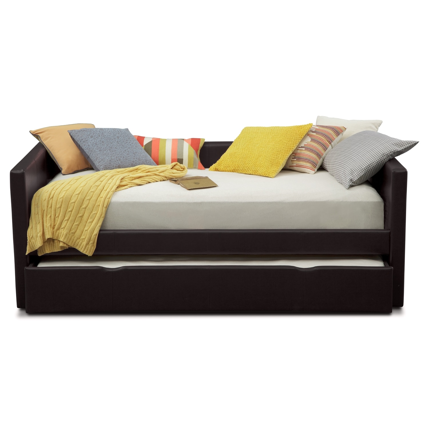 carey twin daybed with twin twin trundle brown value city furniture and mattresses. Black Bedroom Furniture Sets. Home Design Ideas