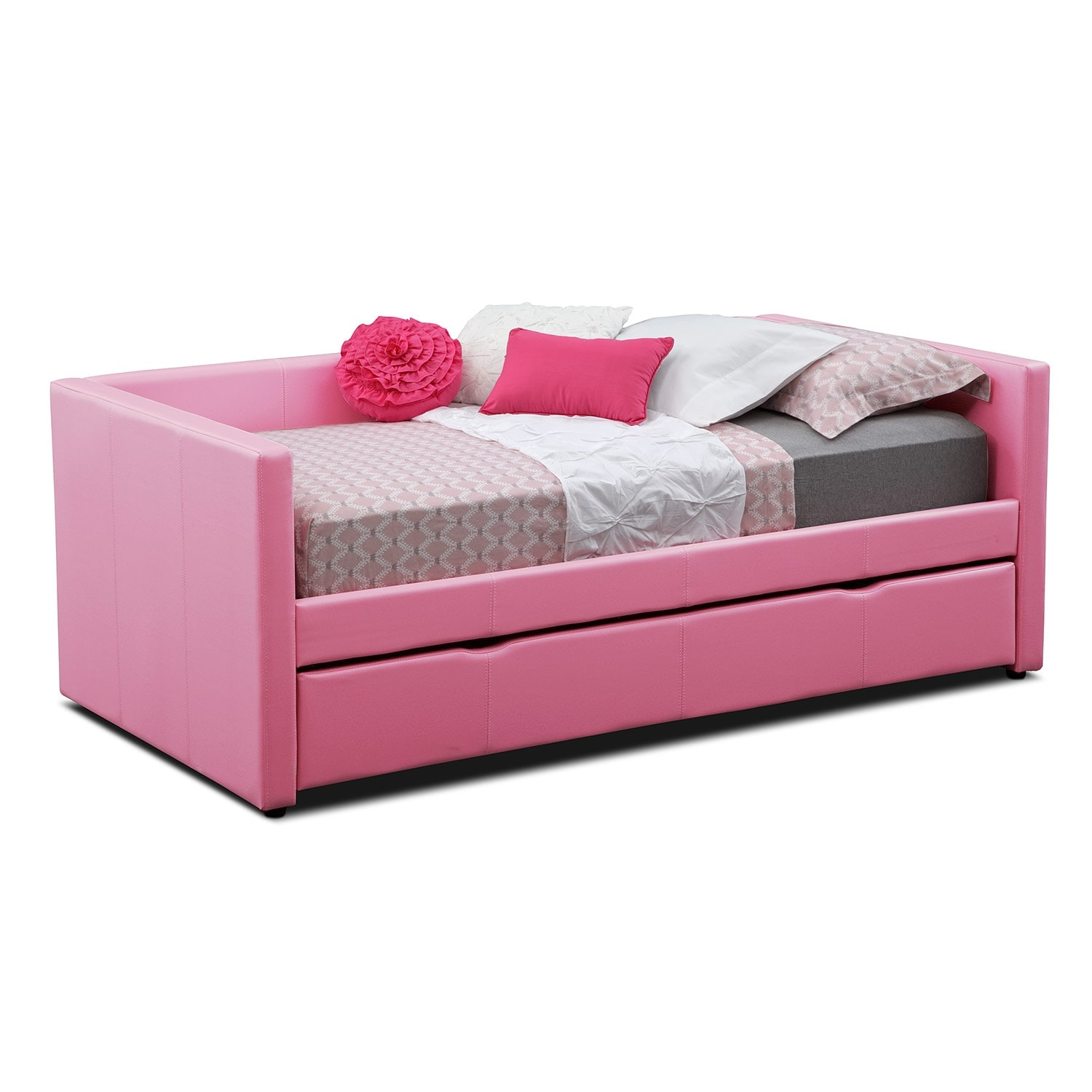 Kids Furniture - Carey Twin Daybed with Trundle - Pink