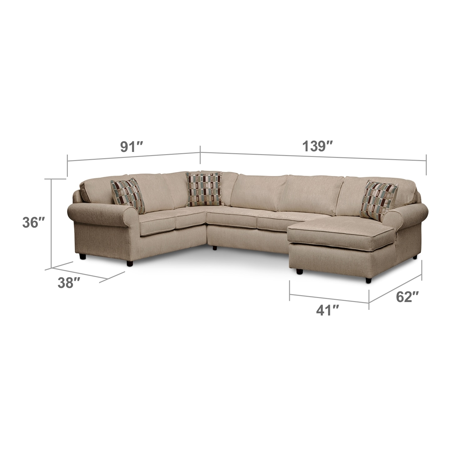 Living Room Furniture - Monarch II 3-Piece Sectional