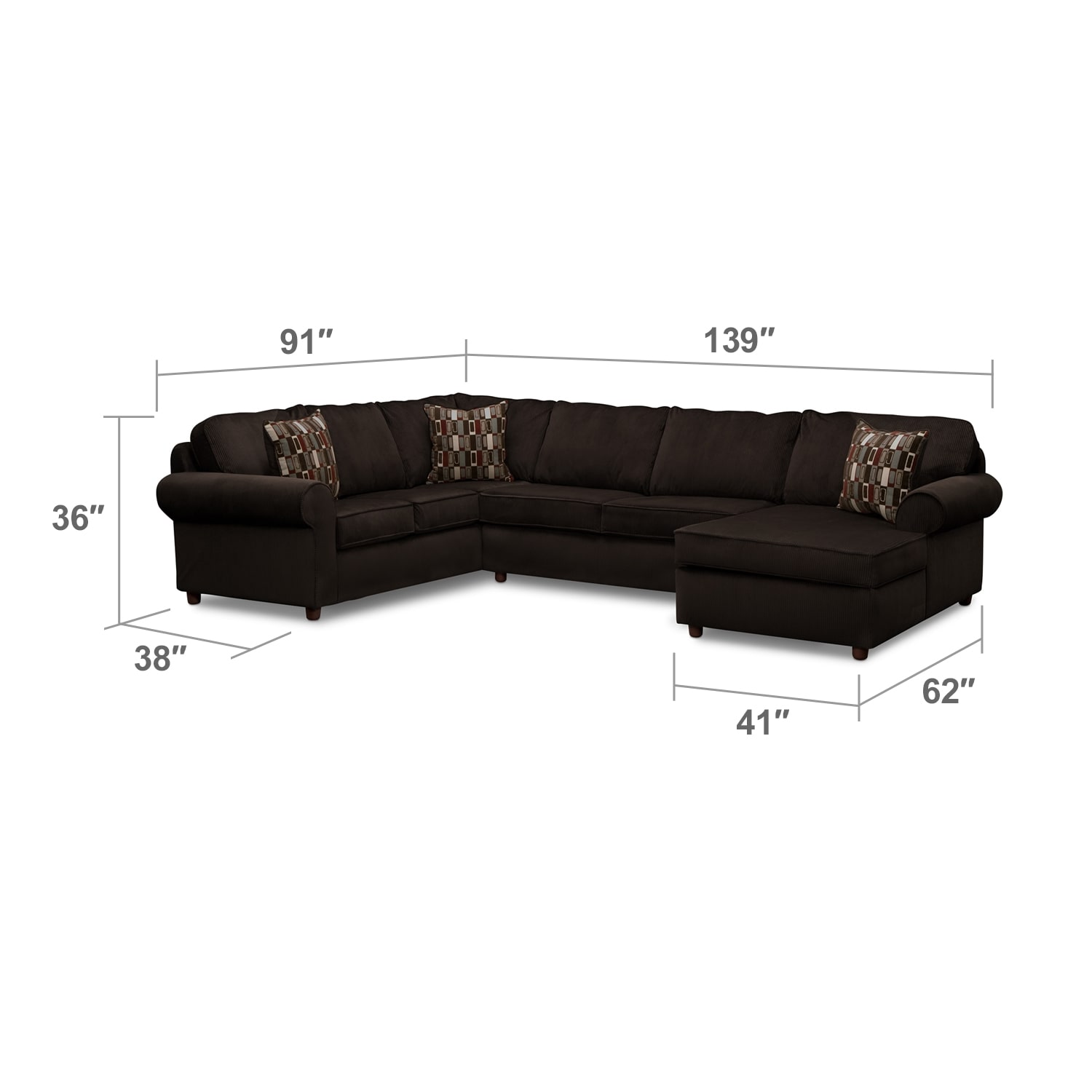 Living Room Furniture - Monarch 3-Piece Sectional