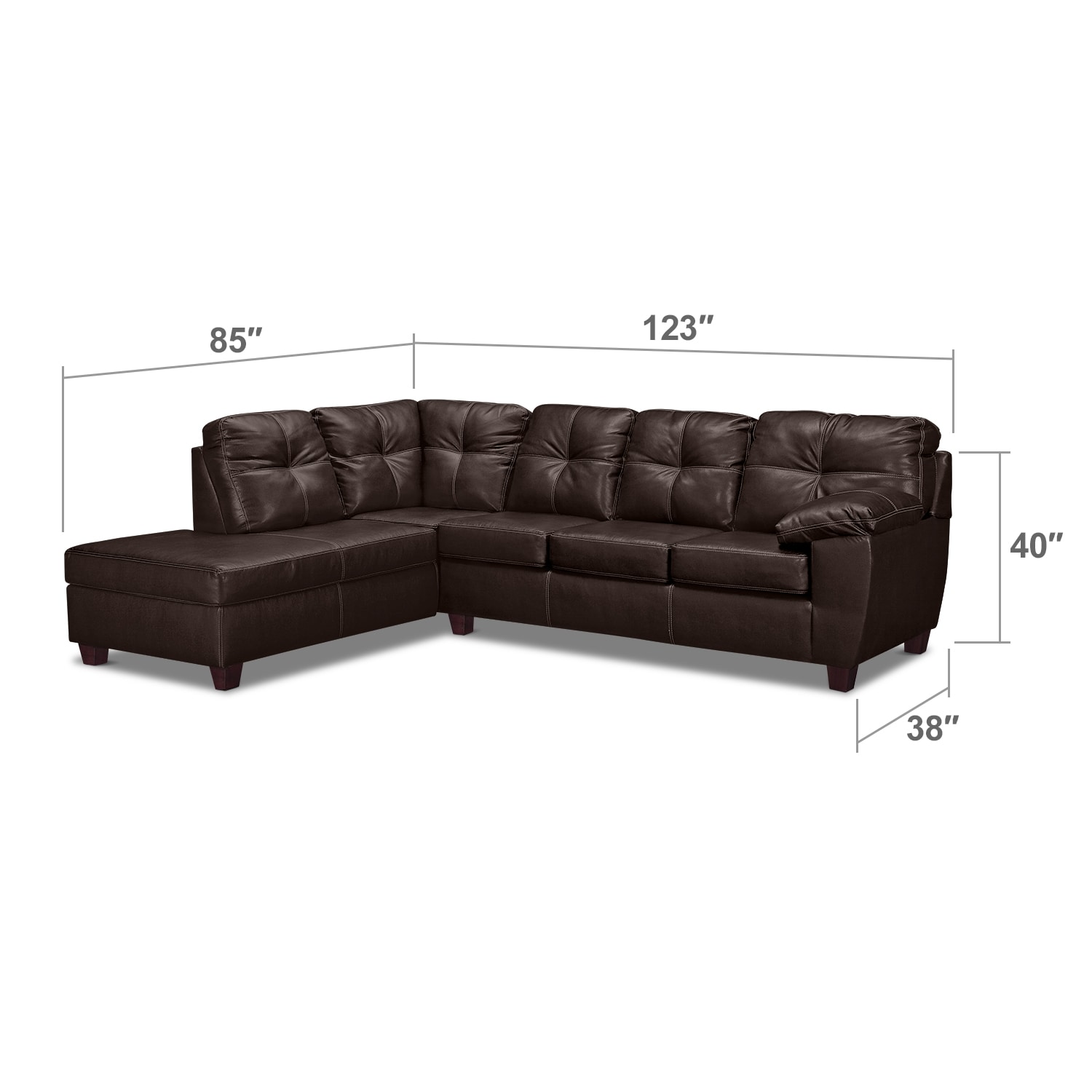 Living Room Furniture - Rialto Brown 2 Pc. Sectional with Left-Facing Chaise