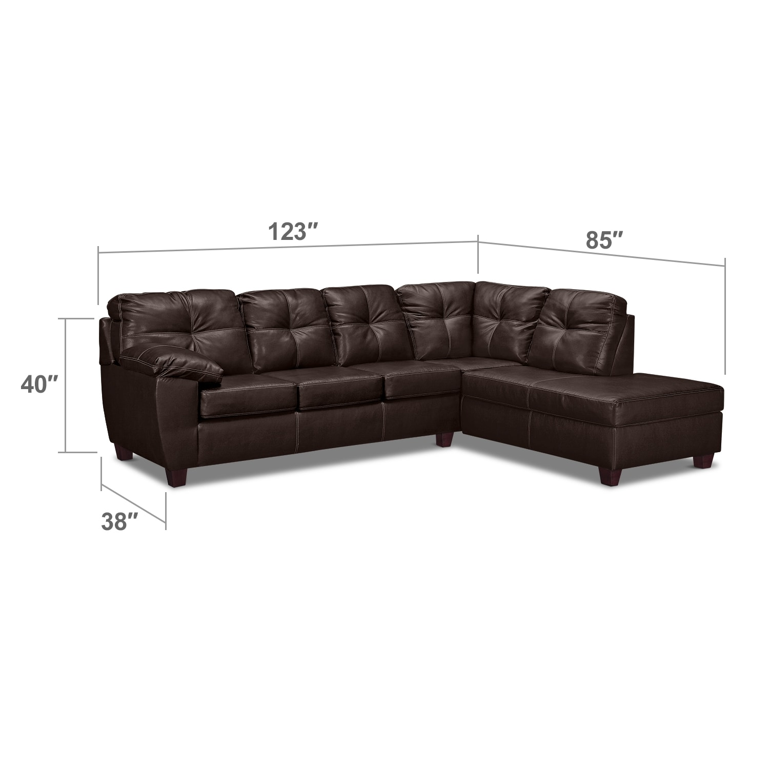 Living Room Furniture - Rialto Brown 2-Pc. Sectional with Right-Facing Chaise