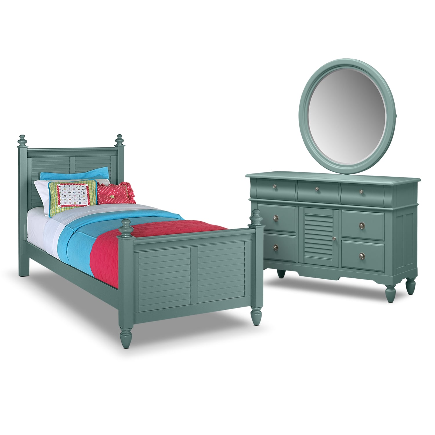 Kids Furniture - Seaside 5-Piece Full Bedroom Set- Blue