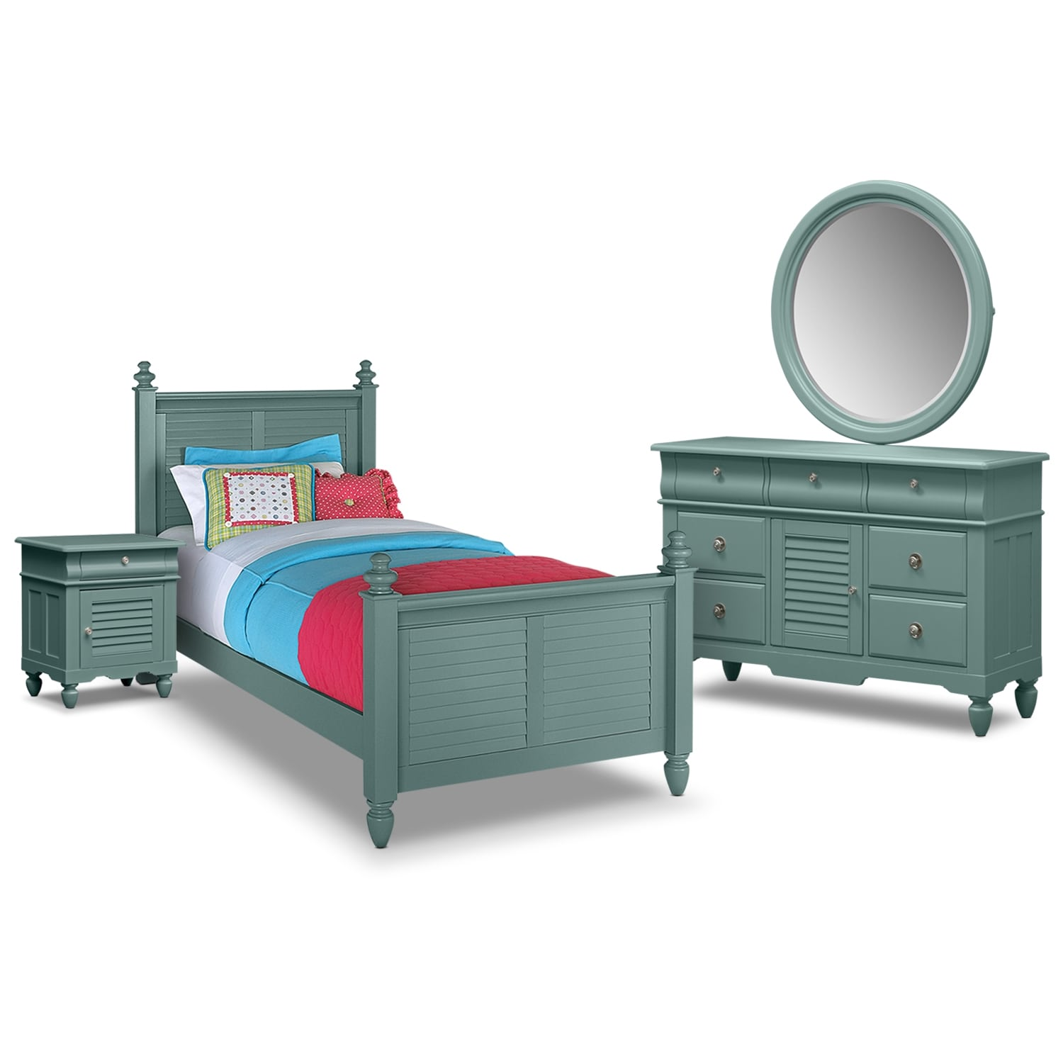 Kids Furniture - Seaside Blue 6 Pc. Twin Bedroom