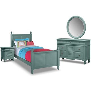 Seaside 6-Piece Full Bedroom Set - Blue