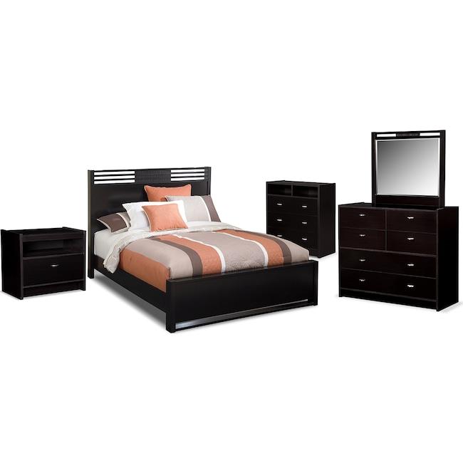Bedroom Furniture - Bally 7-Piece Queen Bedroom Set with Media Chest - Black